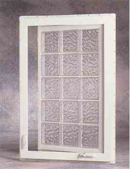Hy lite prestige casement vinyl glass block window Plastic glass block windows